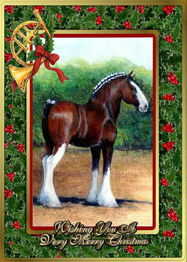 Clydesdale Draft Horse Christmas Card Drawing by Olde Time Mercantile