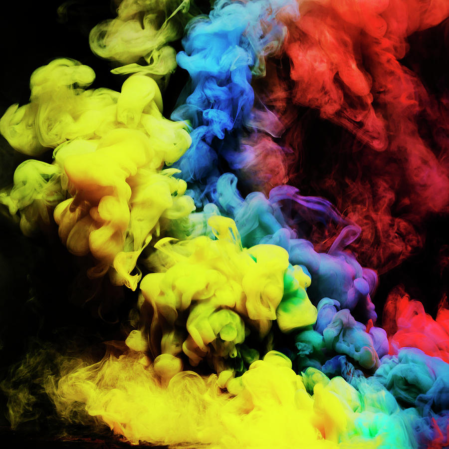 Coloured Smoke Mixing In Dark Room Photograph by Henrik Sorensen
