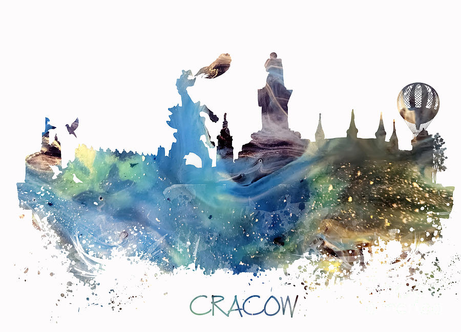 Cracow Digital Art - Cracow City Skyline by Justyna Jaszke JBJart