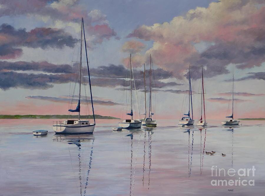 Sailboats Painting - Cuttyhunk Harbor by Karol Wyckoff