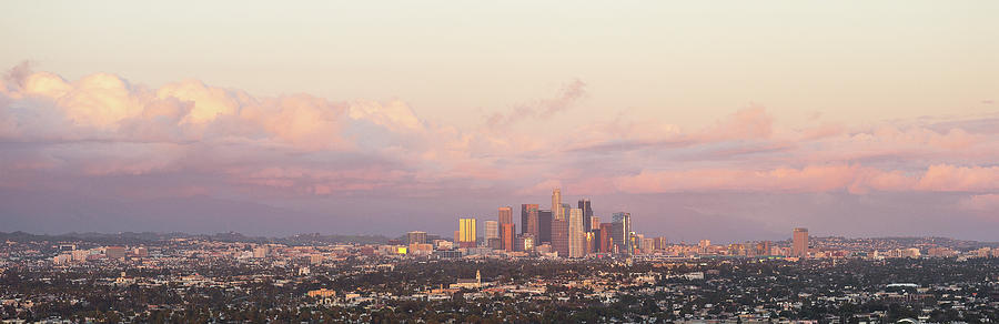 Horizontal Photograph - Elevated View Of City At Dusk, Downtown by Panoramic Images