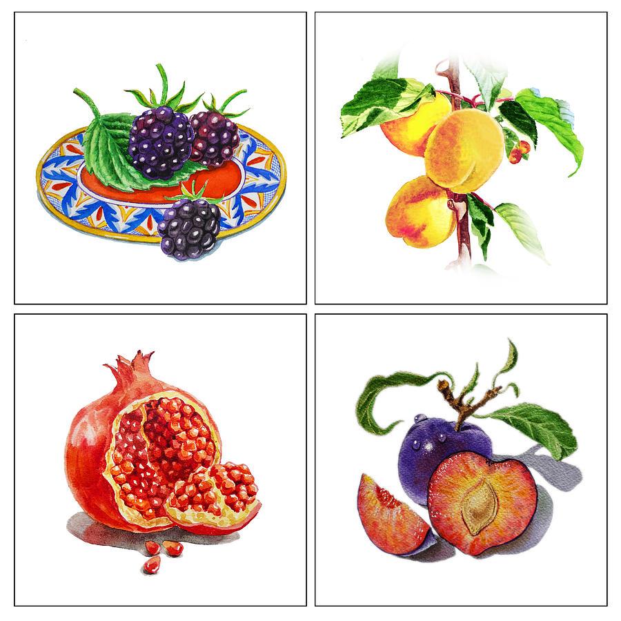 Blackberries Painting - Farmers Market Delight  by Irina Sztukowski