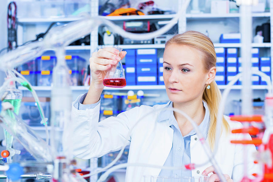 Chemistry Photograph - Female Chemist Working In Lab by Wladimir Bulgar/science Photo Library
