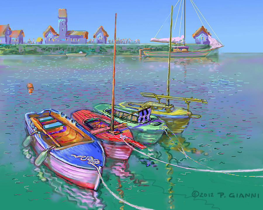 4 Fishing Boats Painting by Philip Gianni