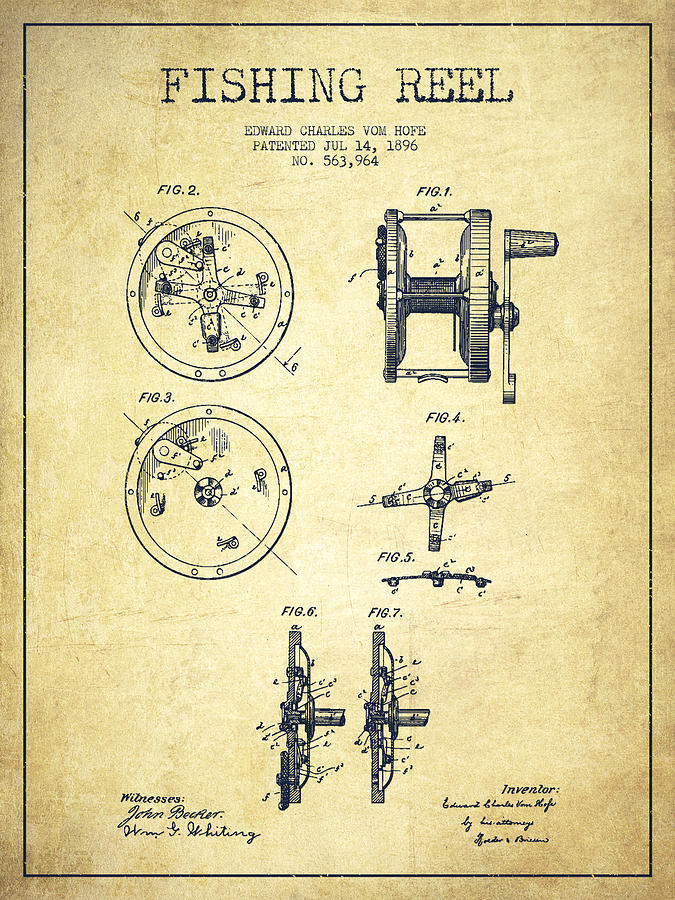 Fishing Reel Drawing - Fishing Reel Patent From 1896 by Aged Pixel