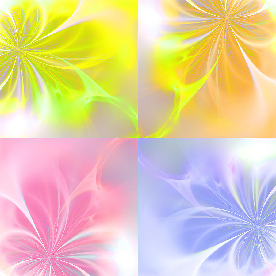 Fractal Season Seasons Digital Art Abstract Flower Flowers Painting Expressionism Color Colorful Summer Spring Autumn Winter Painting - 4 Flowers by Steve K