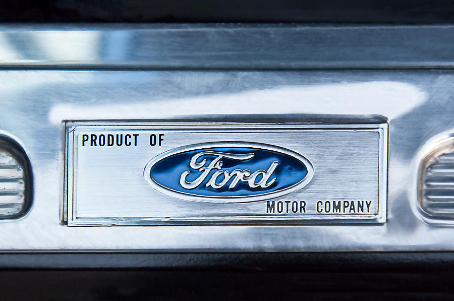 Powered By Ford Emblem Photograph - Powered By Ford Emblem -0307c by Jill Reger