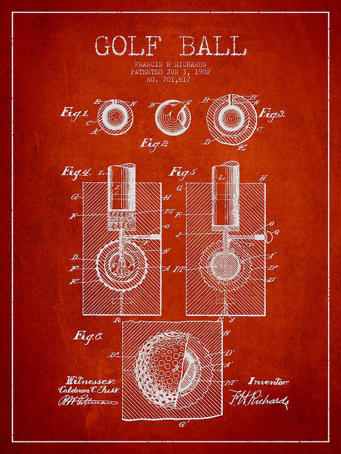 Golf Ball Patent Drawing From 1902 Digital Art