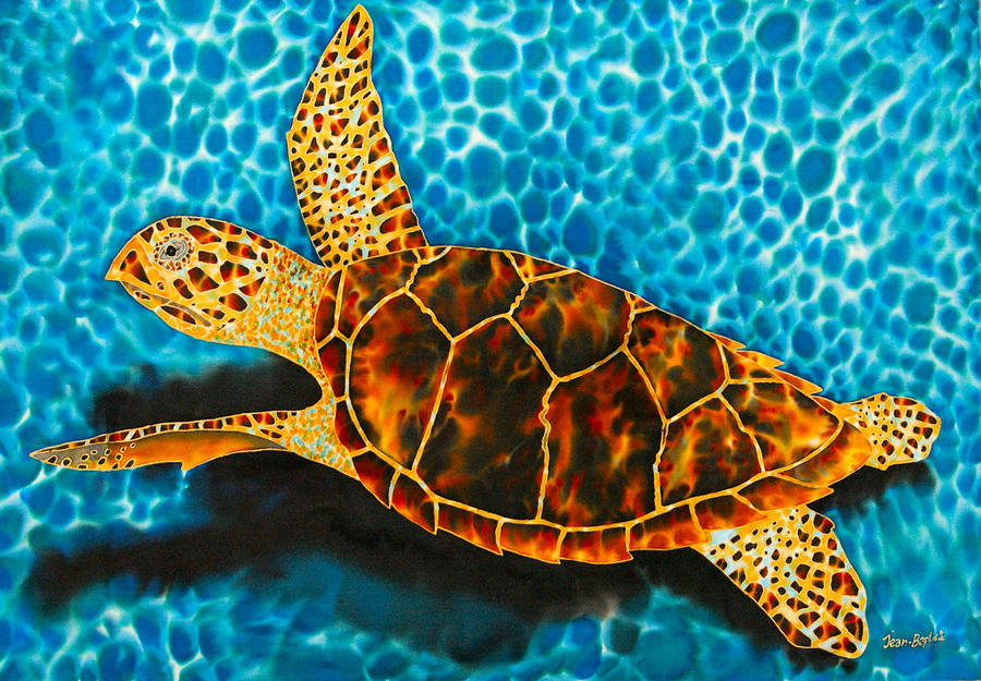 St. Lucia Tapestry - Textile - Green Sea Turtle by Daniel Jean-Baptiste