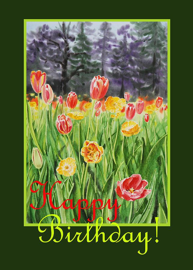 Tulips Painting - Happy Birthday  by Irina Sztukowski