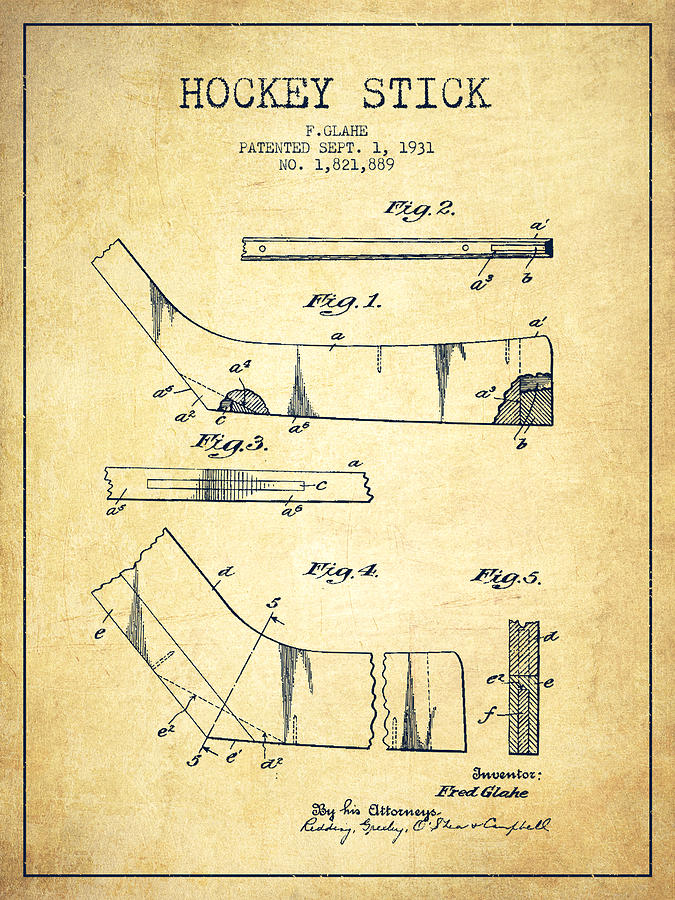 Hockey Drawing - Hockey Stick Patent Drawing From 1931 by Aged Pixel