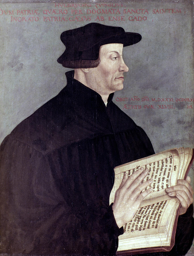 16th Century Painting - Huldreich Zwingli (1484-1531) by Granger