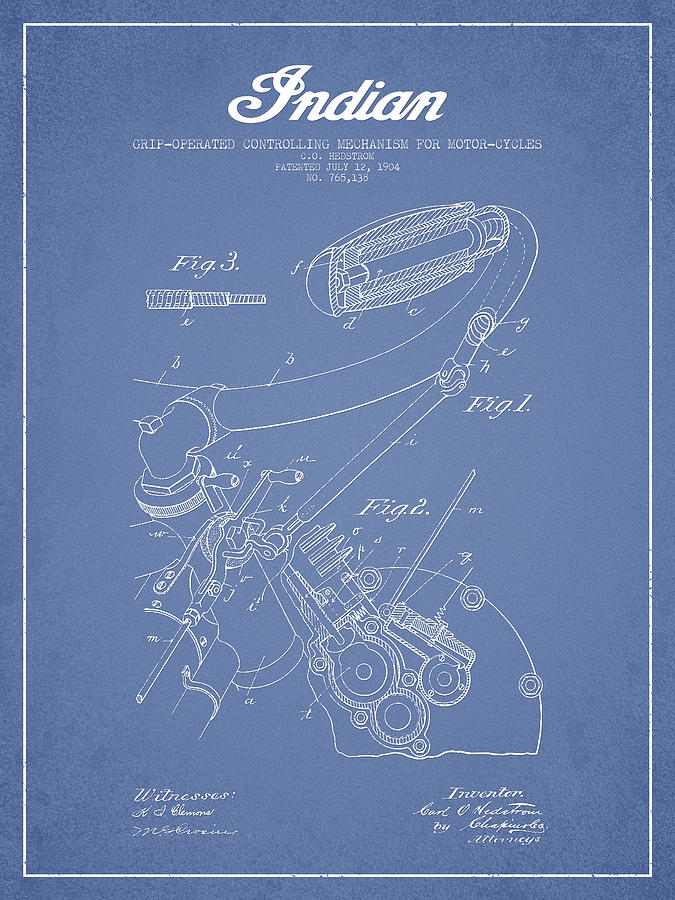 Indian Motorcycle Patent From 1904 - Light Blue Digital Art