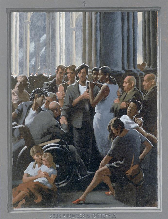 Jesus Painting - 4. Jesus Preaches In The Temple / From The Passion Of Christ - A Gay Vision by Douglas Blanchard