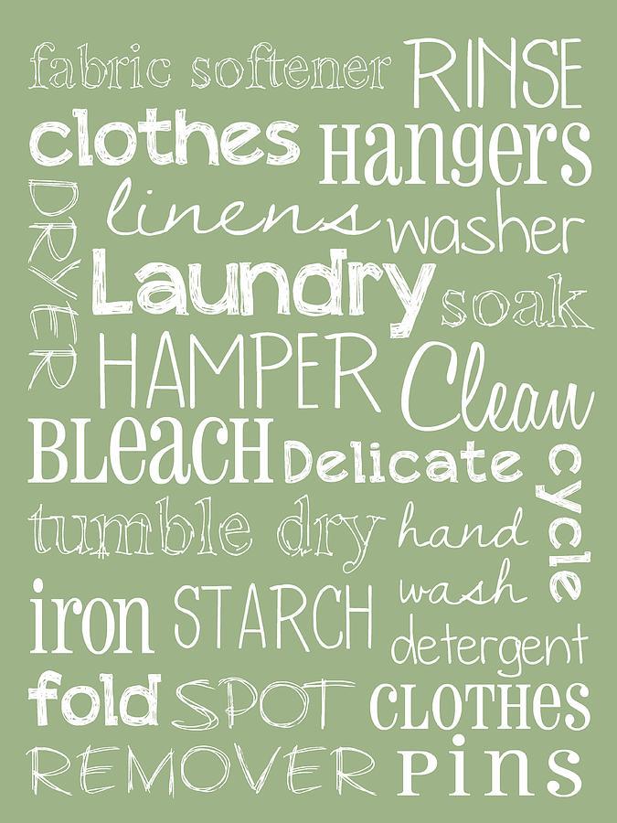 Typography Prints Digital Art - Laundry Room by Jaime Friedman