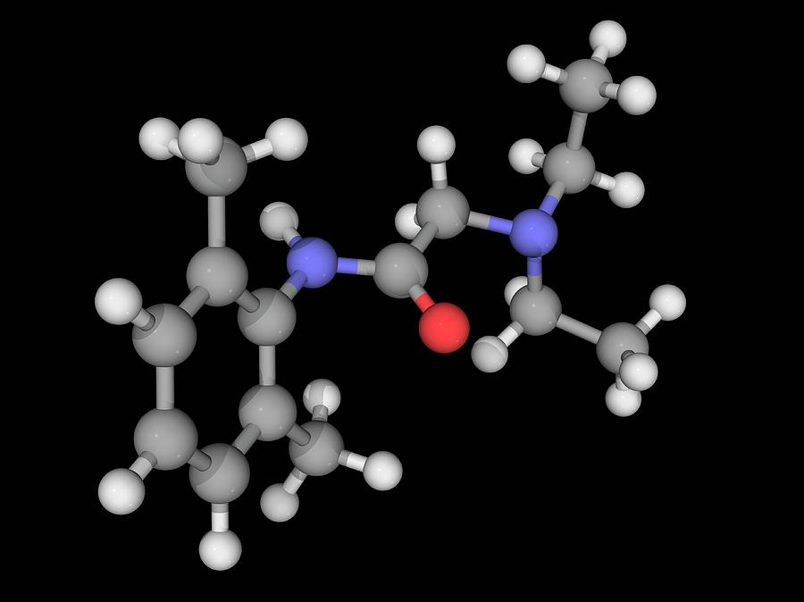 Artwork Photograph - Lidocaine Drug Molecule by Laguna Design/science Photo Library