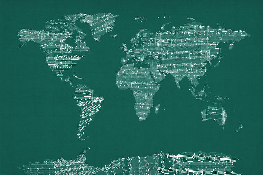 sheet music world map Map Of The World Map From Old Sheet Music Digital Art By Michael