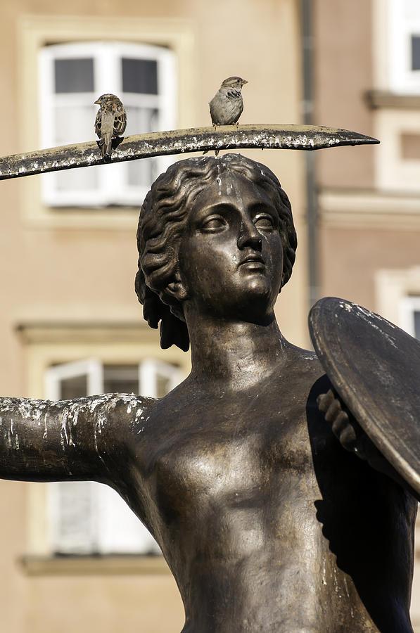 Mermaid Photograph - Mermaid Statue In Warsaw. by Fernando Barozza