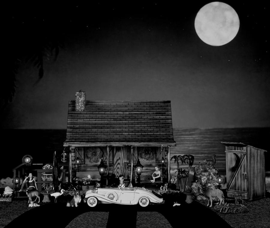 Log Cabin Photograph - Miniature B/w Log Cabin  Scene With The Classic 1936 Mercedes Benz Special Roadster  by Leslie Crotty