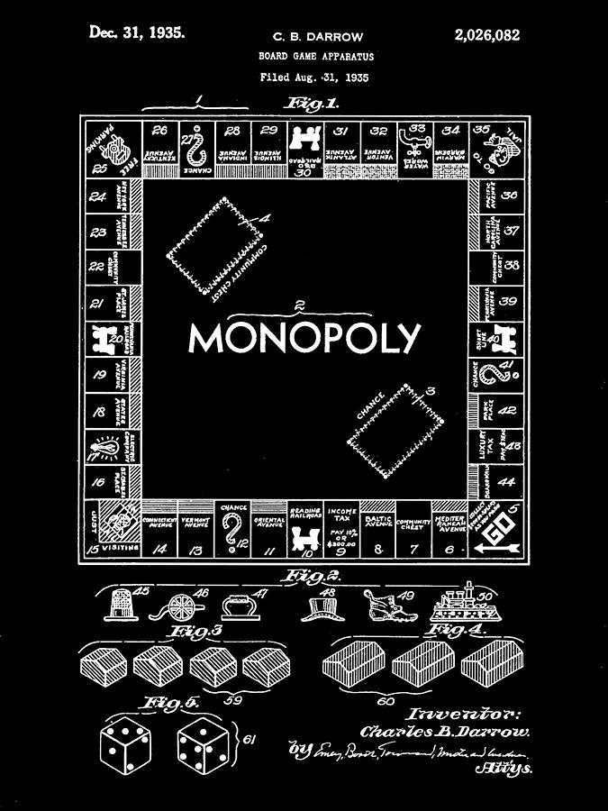 Monopoly Digital Art - Monopoly Patent 1935 - Black by Stephen Younts