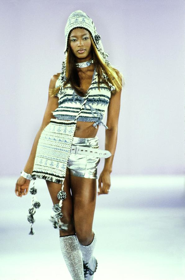 Indoors Photograph - Naomi Campbell On A Runway For Anna Sui by Guy Marineau