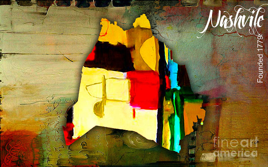 City Map Mixed Media - Nashville Map Watercolor by Marvin Blaine