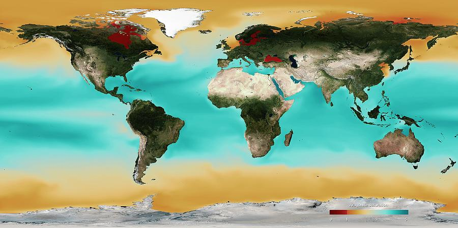 Map Photograph - Ocean Carbonate Saturation by Noaa