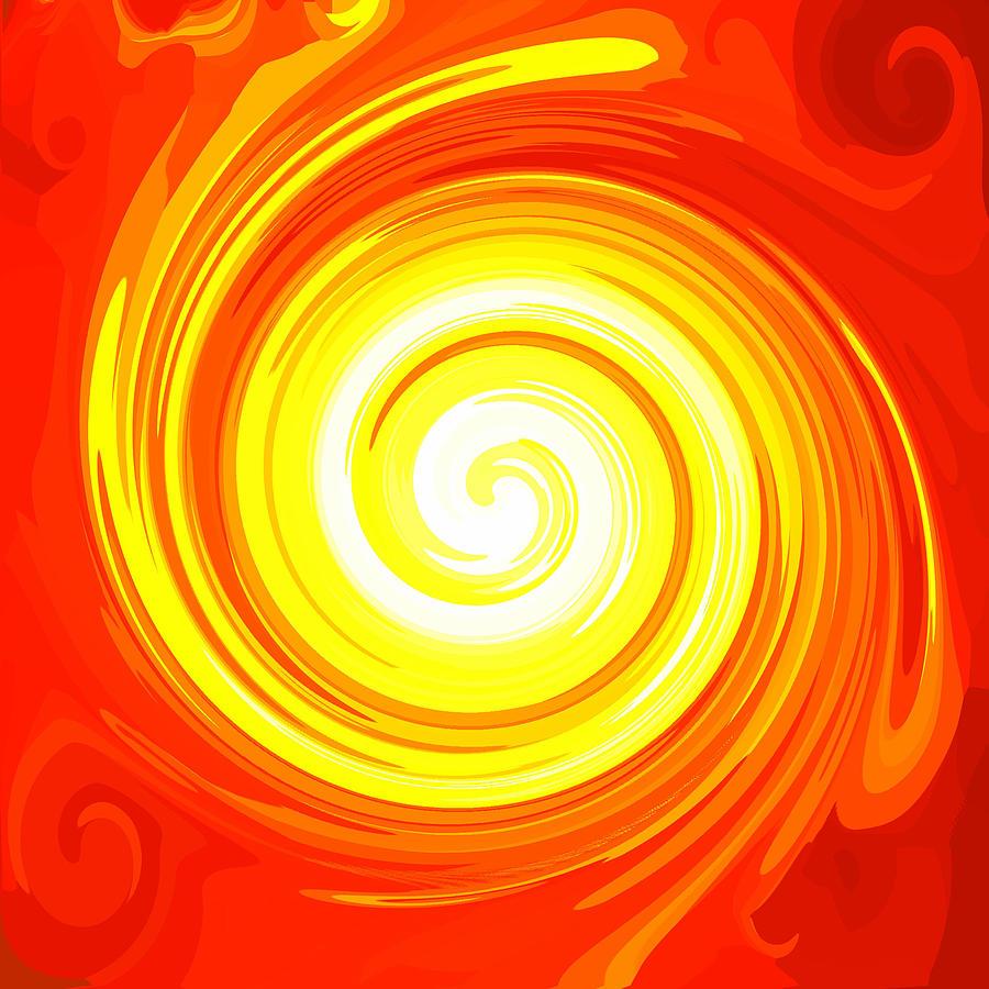 Orange Energy-spiral Digital Art by Ramon Labusch