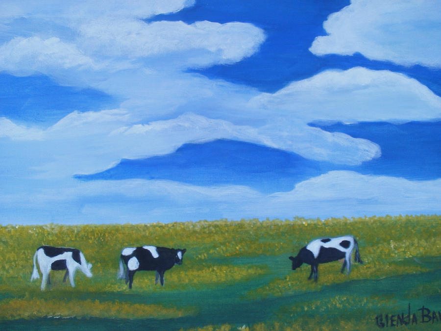 Original Painting - Out To Pasture by Glenda Barrett