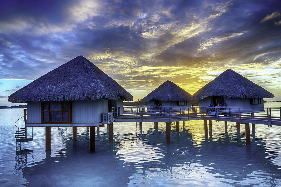 Overwater Bungalows In Bora Bora At Sunset