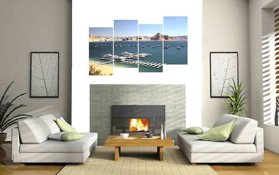 Lake Photograph - 4-panel - Lake Powell Marina by Gordon Elwell