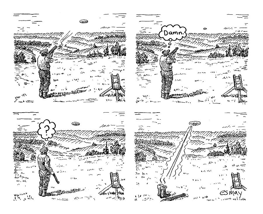 4 Panels.  Man Shoots At A Grout Which Then Turns Drawing by Rob Esmay