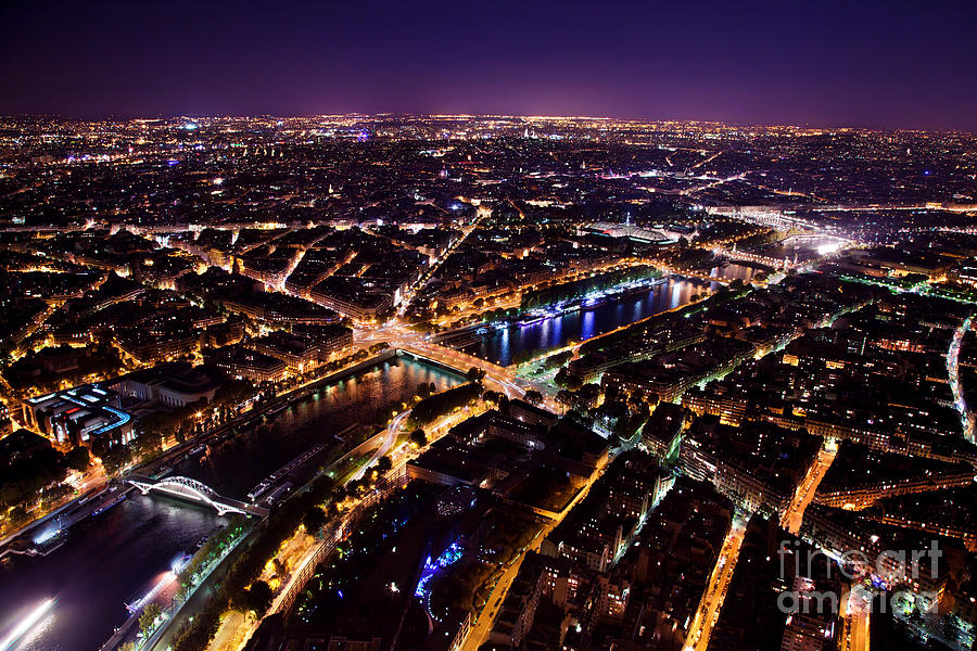 City Photograph - Paris Panorama France At Night by Michal Bednarek
