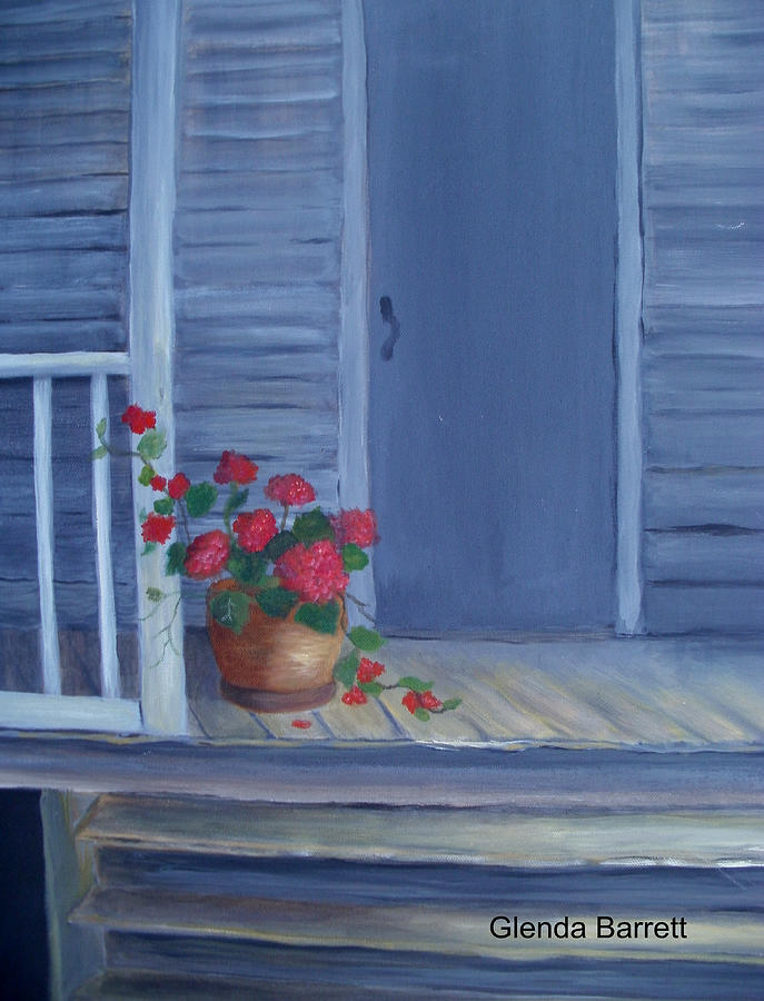 Original Painting - Porch Flowers by Glenda Barrett