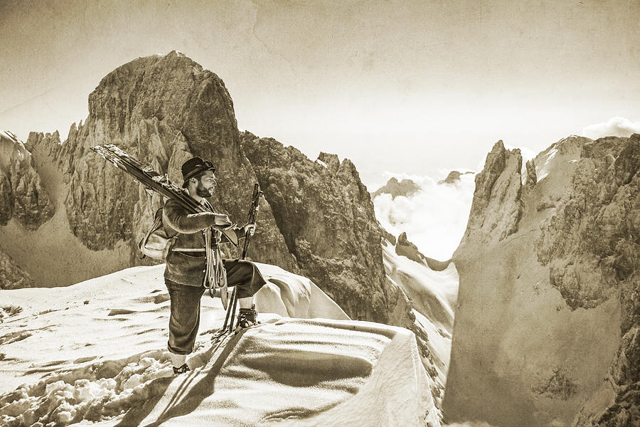 Alpine Photograph - Portrait Of A Bearded Man In Old Nostalgic Skiing Outfit by Leander Nardin