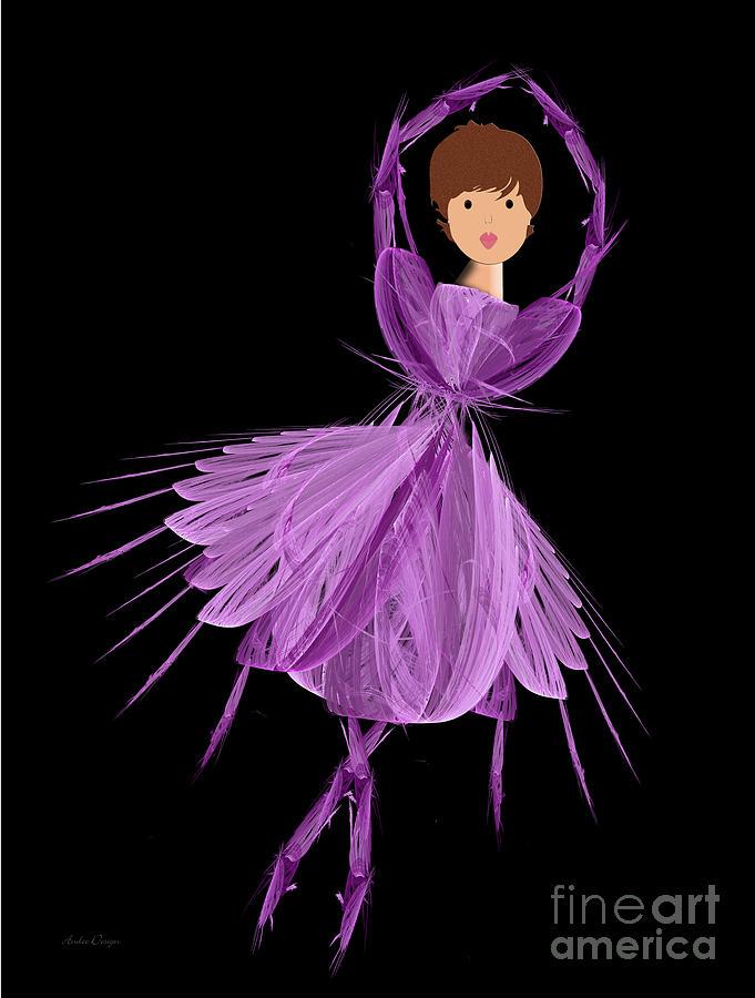 Ballerina Digital Art - 4 Purple Ballerina by Andee Design