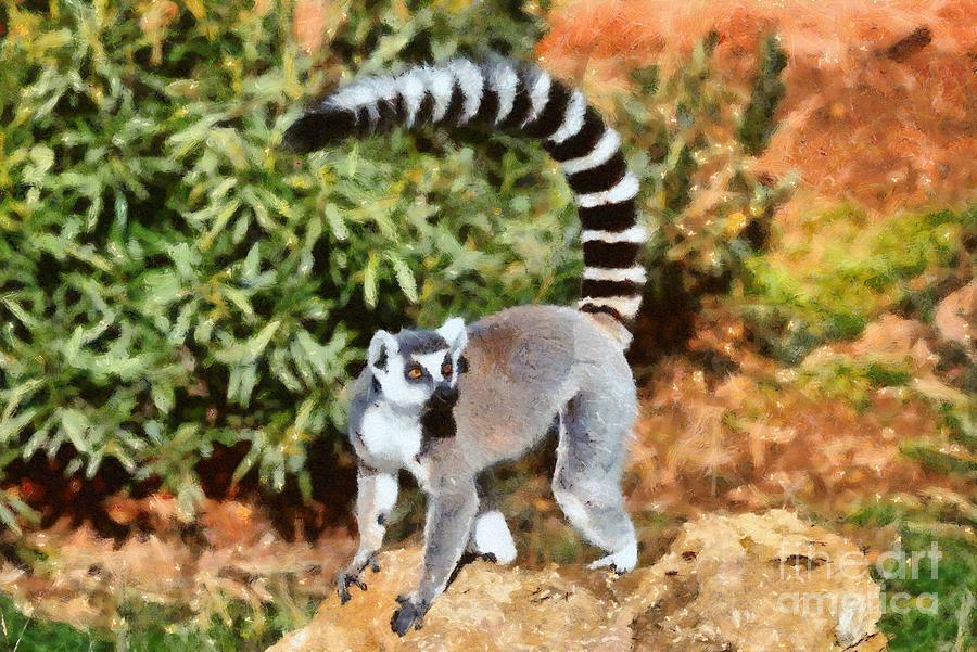 Ring Tailed Lemur Painting - Ring Tailed Lemur by George Atsametakis