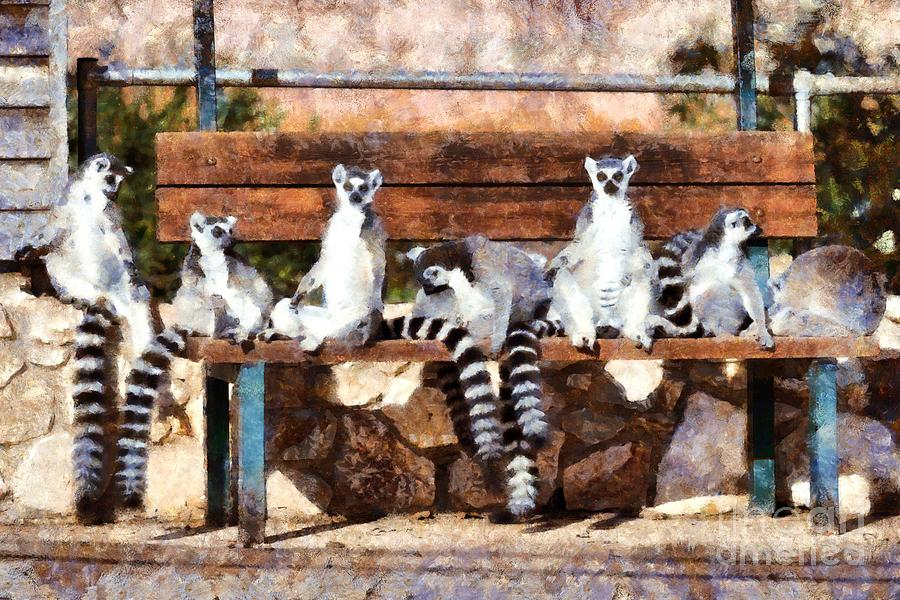 Ring Tailed Lemur Painting - Ring Tailed Lemurs by George Atsametakis