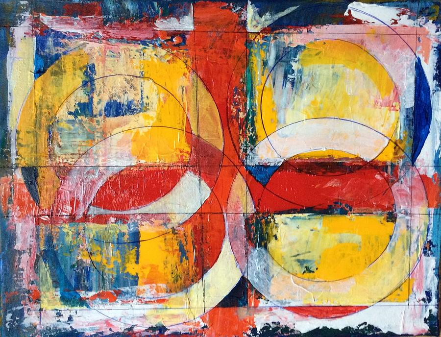 Abstract Painting - 4 Rings 4 Squares by Mark Opdahl