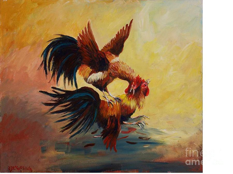 Roosters Painting - Roosters Fight by Jean Pierre Bergoeing