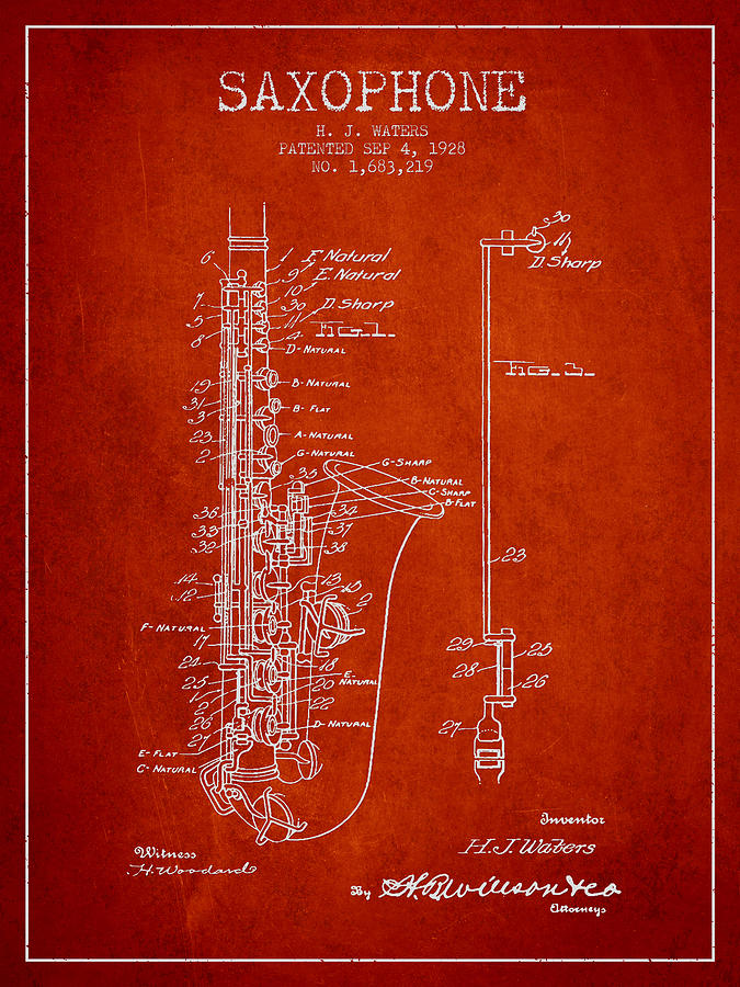 Saxophone Patent Drawing From 1928 Digital Art