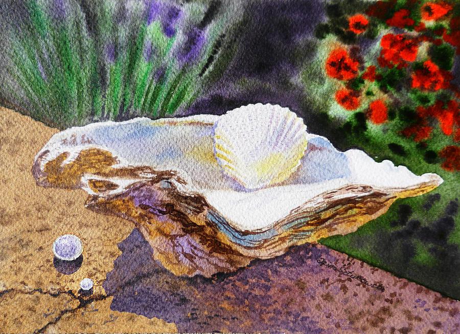 Shell Painting - Sea Shell And Pearls Morning Light by Irina Sztukowski