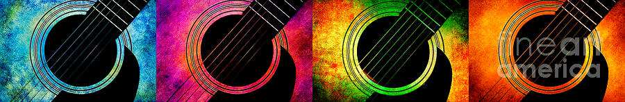 Andee Design Guitar Photograph - 4 Seasons Guitars Panorama by Andee Design
