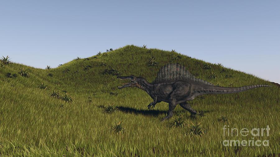 Dinosaur Digital Art - Spinosaurus Walking Across A Grassy by Kostyantyn Ivanyshen