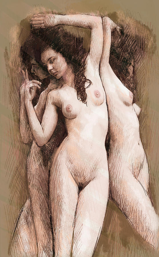 Stylised Nude Girl Drawing Art Sketch Painting By Kim Wang-1133
