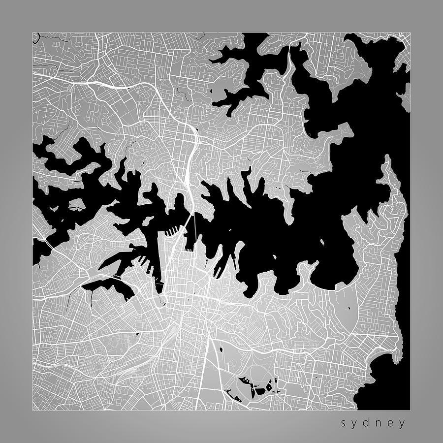 Australia Map Art.Sydney Street Map Sydney Australia Road Map Art On Color By Jurq Studio