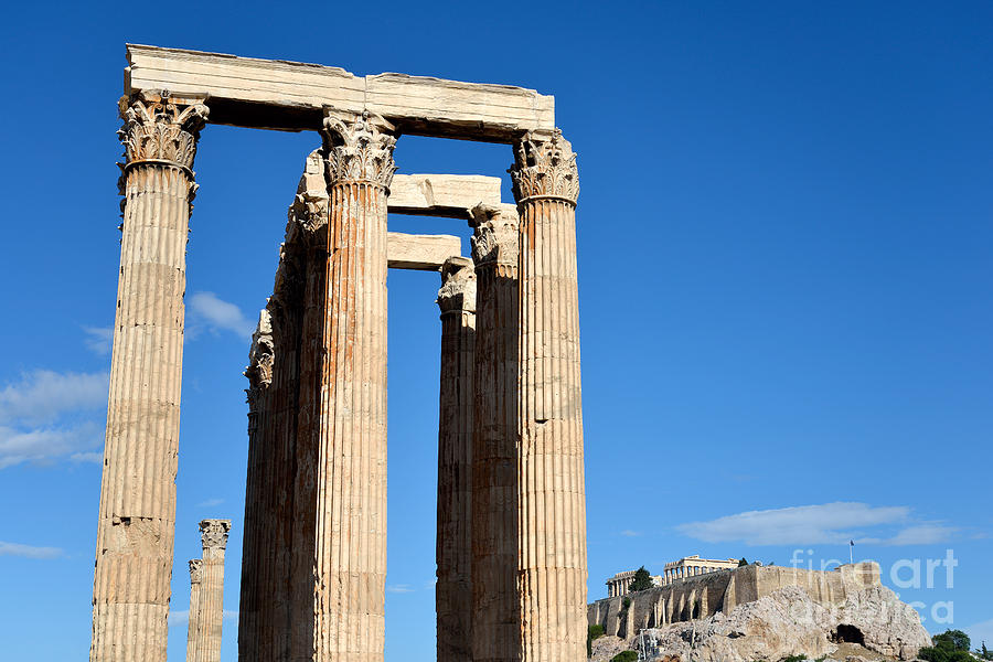 Jupiter; Zeus; Jove; Olympian; Acropolis; Acropoli; Akropoli; Akropolis; Monument; Monuments; Athens; City; Capital; Attica; Attika; Attiki; Greece; Hellas; Greek; Hellenic; Europe; European; Temple; Temples; Ancient; Antiquities; Holidays; Vacation; Travel; Trip; Voyage; Journey; Tourism; Touristic; Summer; Pillar; Pillars Photograph - Temple Of Olympian Zeus And Acropolis In Athens by George Atsametakis