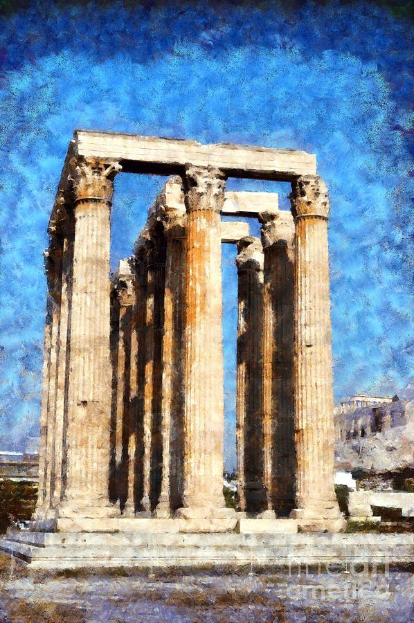 Temple Of Olympian Zeus  Painting by George Atsametakis