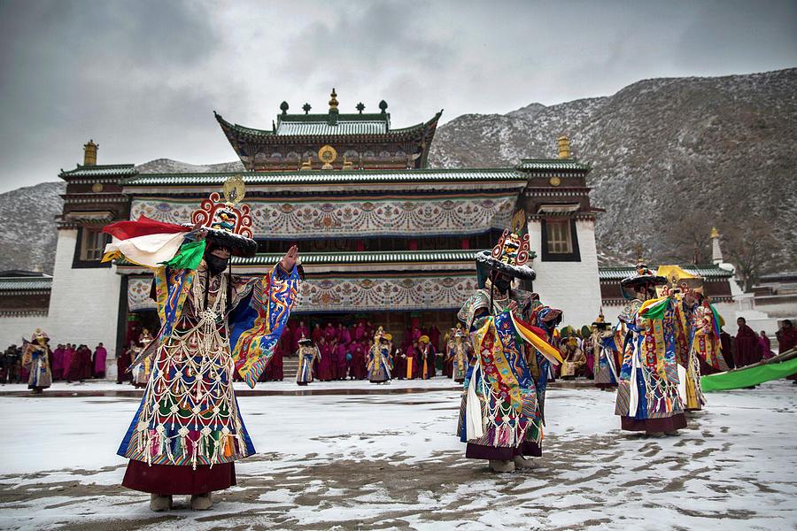 Tibetan Buddhists Celebrate Religion Photograph by Kevin Frayer