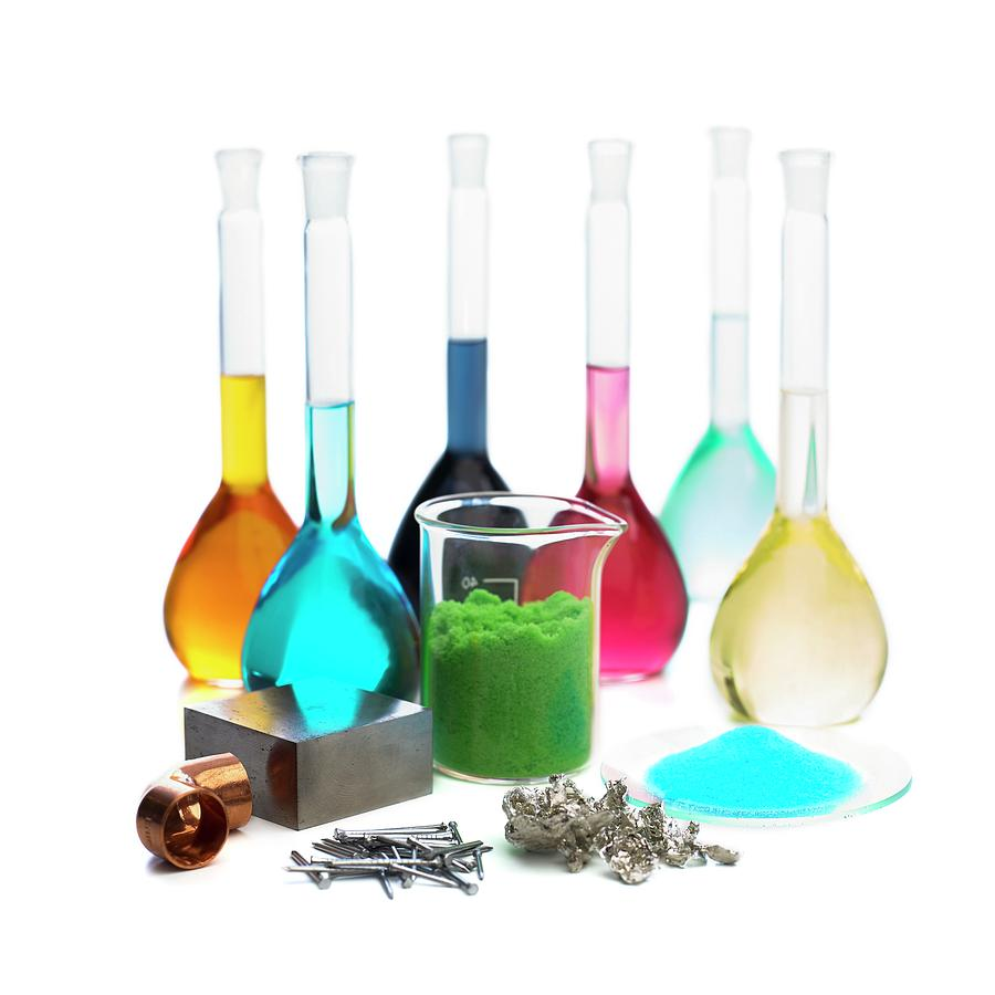 Transition Photograph - Transition Elements And Their Salts by Science Photo Library